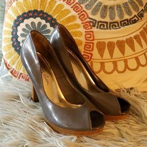 Gray peeptoe heels